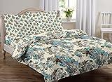 #5: AURAVE Multicolor Floral Design Pattern Reversible Premium Cotton Duvet Cover/Quilt Cover -Double Size