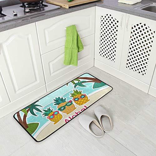 DEZIRO Fußmatten mit Sonnenbrille Aloha Ananas Teppich Antirutsch-Fußmatte für Zuhause oder Büro