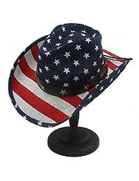 Fucaiqian Sombrero unisex con la bandera americana Sombrero occidental de  vaquero con la bandera americana ( 8ee6fe5d9a4