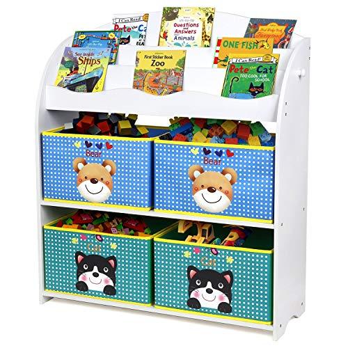 Homfa Kinder Aufbewahrungsregal Bücherregal Kinderregal Spielzeugaufbewahrungregal Spielzeugkiste Kinderkommode mit 4 Faltbarer schubladen, Motiv(Bär und Katze) -