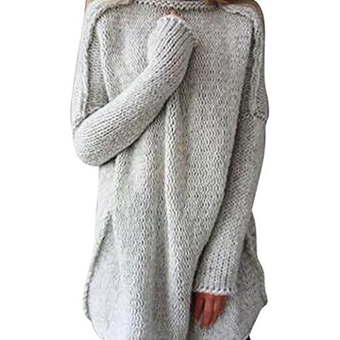 YOUJIA Suéter largo Para Mujer, Cuello Alto Mangas Largas Jersey Prendas de Punto con Pulgar Agujero