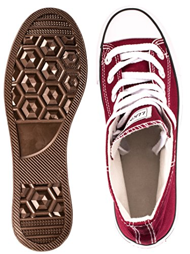 Elara Unisex Kult Sneaker | Bequeme Sportschuhe für Damen und Herren | High top Textil Schuhe 36-47 Bordorot