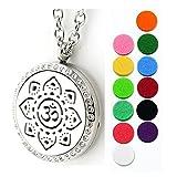 Anhänger OM Symbol Halskette Damen Edelstahl Aroma Diffuser für Aromatherapie Duft Aromaöl mit 4 farbigen Filz-Pads + 1 x ätherisches Öl