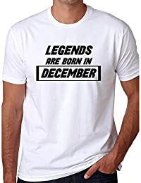 Grafytees Legends Are Born In December White Box Unisex Graphic Printed Birthday Month Round Neck T-Shirt