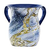 The Kosher Cook Acero Netilat Yadayim Copa Piedra acero pintado que parece el diseño de cerámica Rust, Break y crack Prueba Negel Vasser Copa Judaica Colección de Regalos azul y oro
