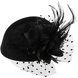 Sombrero de Lunji, tocado con velo, sombrero tipo casquete, para fiestas de té y bodas, para mujeres