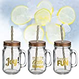 Di-Nesh (872) 3er set Trinkglas JOY & FUN Henkel Deckel Strohhalm 450ml Becher Krug Glas