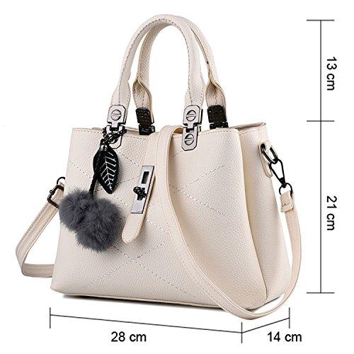 Young & Ming - Donna Borsa a spalla Borsa Tote Borsa a Mano in pelle Handbag con fuzzy ball Bianco
