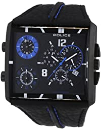 POLICE TRIPOD P13497JSB-02A - Reloj cronógrafo de cuarzo para hombre, correa de cuero color negro (cronómetro)