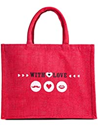H&B Beautiful, Trendy & Stylish Beige Color Jute Handbag/Quality Lunch Bag/ Gift Bag, Love Bag For Valentine Gift...