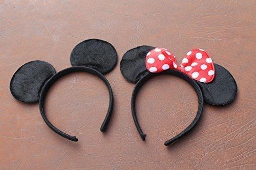 Qualitätsweichschaum Minnie und Mickey Mouse Ohren auf Stirnband mit Rot und Weiß gefleckten Bogen
