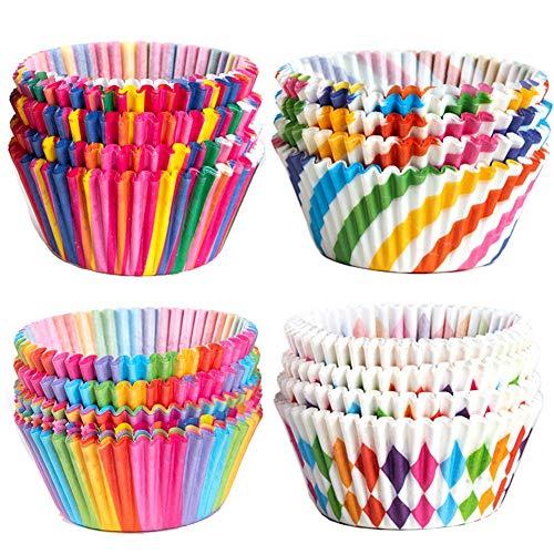 Momangel Cupcake-Förmchen, bunt, Regenbogenfarben, 100 Stück multi
