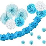 SUNBEAUTY Blaue Serie Blau Papier Dekoration PomPom Wabenbälle Girlande Babyparty Dekor Serie (Blau)