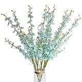 Cadver Künstliche Blumen, 10Stück, Tanzen, Orchidee-Schmetterling Blumen für Hochzeit Dekoration Wohnzimmer, Home Office blau