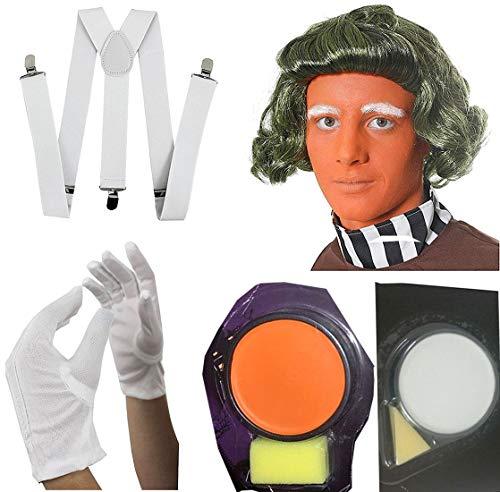 Islander Fashions Schokoladenfabrikarbeiter Abendkleid-Erwachsene gr�ne Per�cke Gesichts-Farben-wei�en Handschuhe und Zahnspange Set One Size (Loompa Oompa Damen Kostüm)