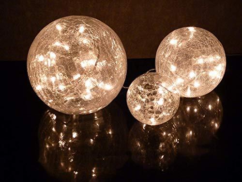 Dapo Glas LED Kugelleuchte Fiona Kugellampe 3X Weihnachts-Dekoration Durchmesser 10+15+20cm Dekorationsleuchte Tischleuchte Crashglas Weihnachten