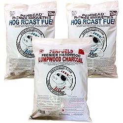 Mix 20kg penbead barbacoa briquetas Plus 5kg Carbón vegetal de madera