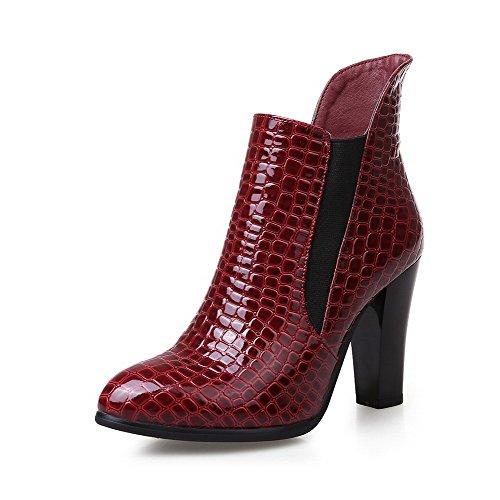 AllhqFashion Damen Ziehen auf Hoher Absatz PU Gemischte Farbe Niedrig-Spitze Stiefel, Rot, 38