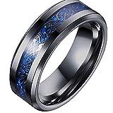 Peora Black Tungsten Carbide Silvering Celtic Dragon Blue Carbon Fibre Wedding Band Ring