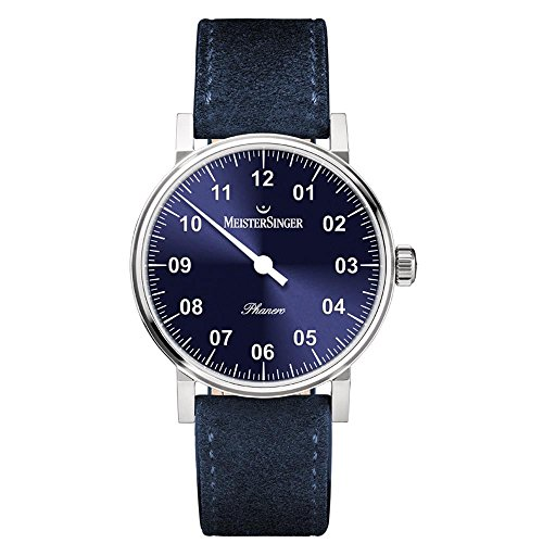 MEISTERSINGER WOMEN'S PHANERO 35MM BLUE LEATHER BAND MECHANICAL WATCH PH308