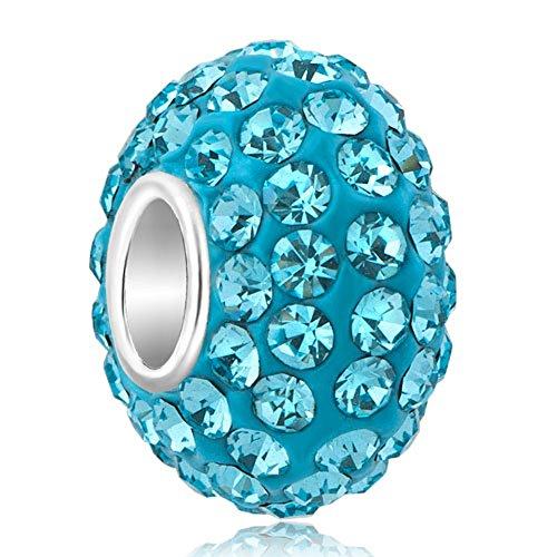 Korliya Birthstone charm per braccialetti, argento, colore: Light Blue, cod. EMW_GB_MYSS01_X03