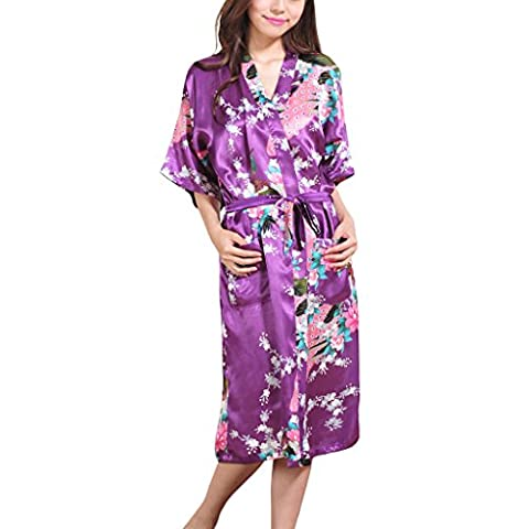 Waymoda Women's Luxury Silky Satin Nightwear Dressing Gown, Peacock and Blossoms Pattern Kimono Pajamas, 10+ Color, 5 Sizes Optional - Long (Dobby Kostüm Erwachsene)