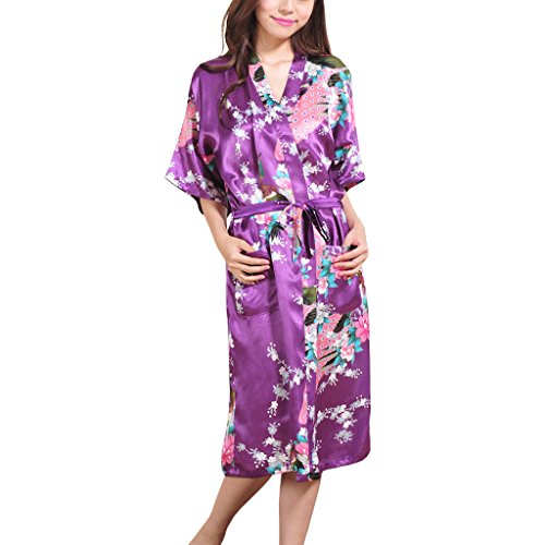 Waymoda Women's Luxury Silky Satin Nightwear Dressing Gown, Peacock and Blossoms Pattern Kimono Pajamas, 10+ Color, 5 Sizes Optional - Long style (Mini-kleid Blossom)