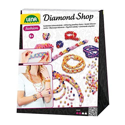 Lena 42132 - Bastelset Diamond Shop, Komplettset mit 2000 Fädelperlen, elastischen Fäden und Anleitung, Schmuckbastelset für Kinder ab 8 Jahre, Set zum Basteln von Schmuck, der wie Diamanten glitzert