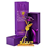 #8: LOF 24K Certified Gold Plated Rose With Purple Gift Box and Carry Bag With Beautiful Golden Love Rose Flower Stand For Loved Ones 04