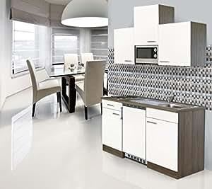 Respekta installation mini cuisine single bloc 150 cm imitation chêne york blanc