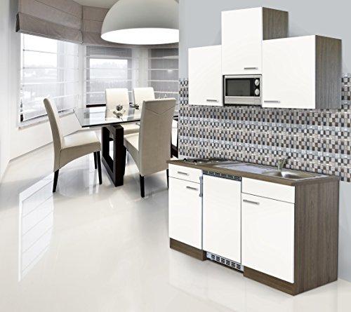 respekta Einbau Single Küche Küchenblock 150 cm Eiche York Nachbildung Weiß Ceran