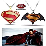 (2 Pcs COMBO SET) - SUPERMAN ( GOLD PLATED ) & DAWN OF JUSTICE LOGO (BLACK/YELLOW) IMPORTED PENDANTS WITH CHAIN. LADY HAWK DESIGNER SERIES 2018. ❤ ALSO CHECK FOR LATEST ARRIVALS - NOW ON SALE IN AMAZON - RINGS - KEYCHAINS - NECKLACE - BRACELET