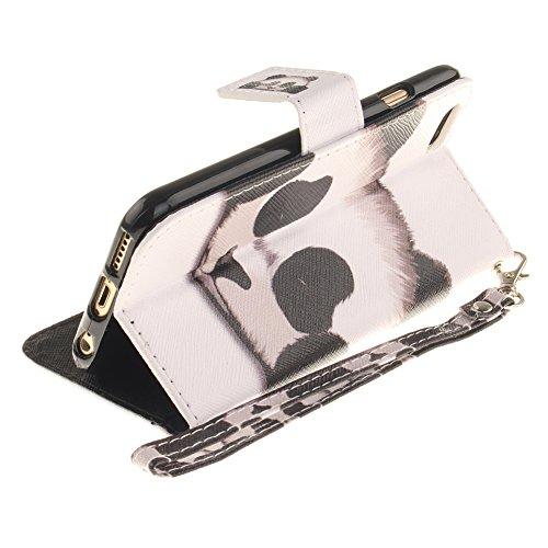 Cover per iPhone 6/6S 3D Panda Disegni,Girlyard Custodia in Pelle Portafoglio Libro Flip Cover Bianco Colorata Carino Kawaii Design Coperture per Apple iPhone 6S/6 4.7 Antiurto Antipolvere Cover + Mo Bianco