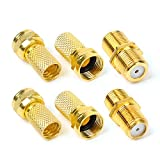 Hyber&Cara F-type Connector Kit for Coaxial Cable Extension/Repair, 4 Pcs RG6 Plug Connector and 2 Pcs Female Coupler for SKY/Freesat/Virgin Media