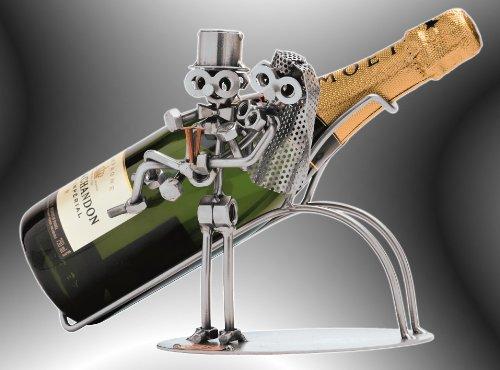 Boystoys HK Design Brautpaar Sekt & Champagner Flaschenhalter - Metall Art Flaschendeko...