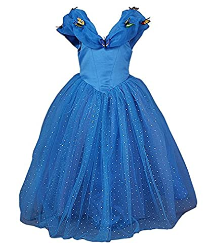 JerrisApparel Aschenputtel Kleid Prinzessin Kostüm Schmetterling Mädchen (110, Blau)