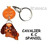 [Handmade made in Japan, new, craftsman] [VANCA present leather keychains Cavalier K C spaniel dog anywhere demo (japan import) by VANCA (Banca craft) Leather story
