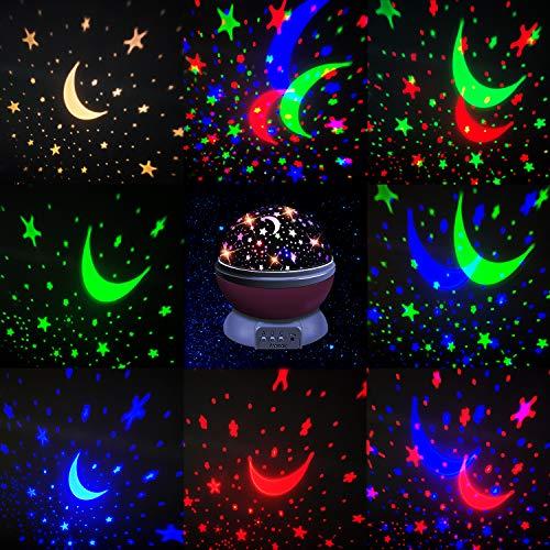 51yeoTz1yKL - Moredig Lampara Proyector Infantil, 360° Rotación y 8 Modos Iluminación Proyector Estrellas, Luz de Nocturna para Niños y Bebés Cumpleaños, Día de los Reyes, Navidad, Halloween Rosa