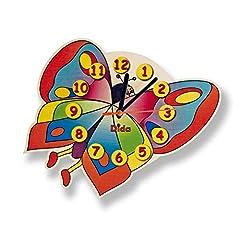 Idea Regalo - Dida - Orologio Farfalla. Orologio da Parete in Legno per arredare la Camera dei Bambini.