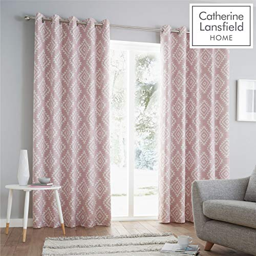 Catherine Lansfield Aztec Ösenvorhang, Polycotton, Blush, 66x72 Inch - 72 In Blush