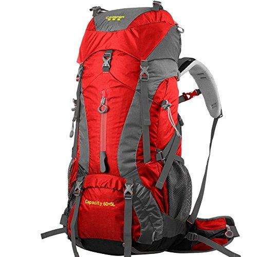 YAAGLE Outdoor Rucksack Trekkingrucksack Camping Rucksack Nylon Bergsteigen Tasche Marken Reise-Tasche (Grün) Rot