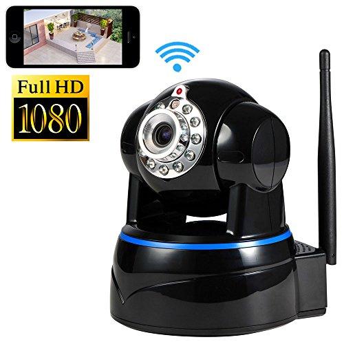 IP Kamera, NOA Wireless 1080P Full HD Tag Überwachungskamera und Tag-/Nacht-Webcam (Weiß) (schwarz) Digitale Nacht Vision Webcam