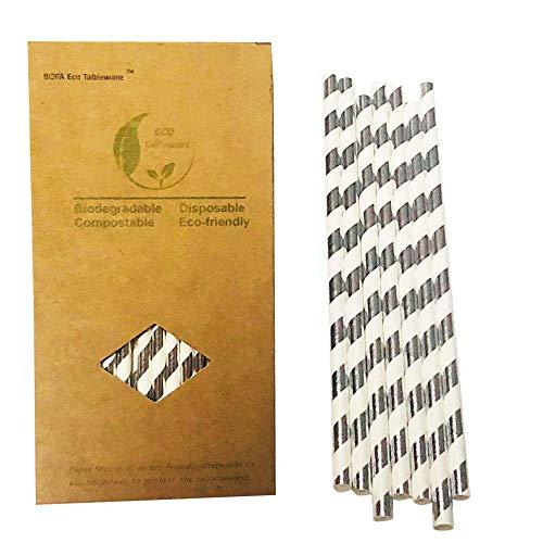 Papier-Strohhalme, glitzernd, silberfarbene Streifen, Party-Dekoration, 100 Stück