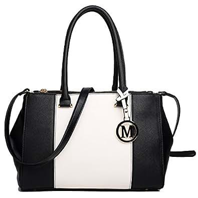 Miss Lulu Leather Look V-Shape Shoulder Handbag, 1643 Black, Large