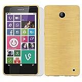 Conie SE226923 2er Set 9H Folie + Brushed Case Kompatibel mit Nokia Lumia 630, Handyhülle Set bestehend aus Folie Panzerglas & Brushed Silikon Hülle für Lumia 630 Set Gold