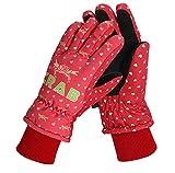 Glield Anti-Vent Gants de Ski Imperméables Thermiques à Paumes Antidérapantes- Unisexe Enfant ETST02 Couleur Rouge (rose)
