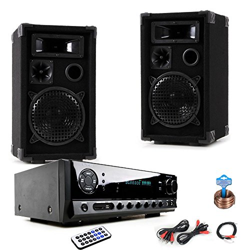 PA Party Kompakt Musikanlage Boxen Verstärker USB MP3 SD Bluetooth DJ-Compact 8