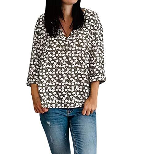 OIKAY Damenmode V-Ausschnitt Print Langarm-lose Tops T-Shirt Bluse Frauen Druck Langarm Hemd Krawatte Knoten Lässige Blusen Tops