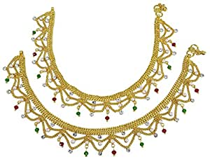 Banithani Tradizionale Gold Stone Tono Della Cz Indiano Etnico Designer Gioielli Piede Calzino Nuziale