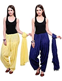 Fashion Store Women Cotton Patiala Salwar With Dupatta Combo Of 2 (Free Size, Yellow & Blue)